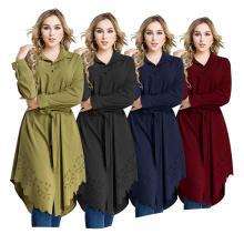 Fashion S-6XL maxi color block Wear Islamic Clothing Arab Girls Plus size cut floral women long shirt blouse