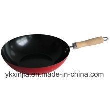 Kitchenware Carbon Steel Non-Stick Wok with Wood Handle Cookware
