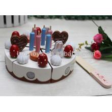Feliz cumpleaños pastel de juguete de madera conjunto