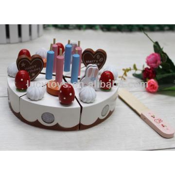 Happy birthday wooden toy cake set