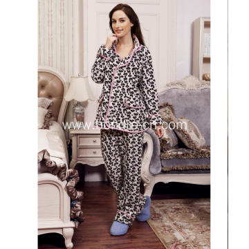 Ladies Fleece Pajama With Leo Printing With Buttons