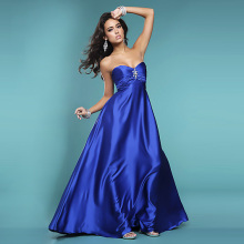 Elegant A-line Sweetheart Neckline Strapless Floor-length Satin Beading Evening Dress