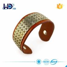 2015 Wide Metal Plate Leather Bracelet