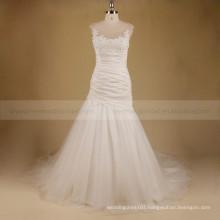 Graceful Scoop Neck Applqiue Lace & Beads Mermaid Chapel Train Pleated Tafetta Bottom Tulle Wedding Dress