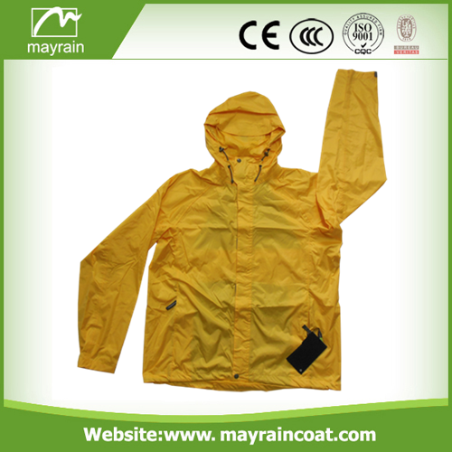Bright Yellow Color Polyester Rain Jacket