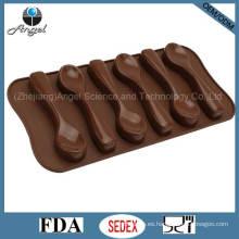6-cuchara de chocolate de silicona bandeja de cubitos de hielo con FDA Aprobado Si11