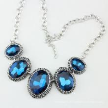 Grande tamanho de vidro de cristal azul moda colar de jóias brilhantes