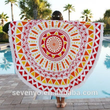 mandala beach towel cotton tassels european style Round Beach Towel RBT-055