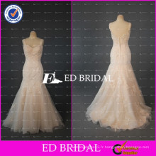 2017ED Beidal Elegant Cap Sleeve Mermaid Beaded Lace Appliqued Champagne Alibaba Robe de mariée