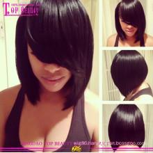 Qingdao hair wholesale cheap virgin brazilian human hair short bob silk top lace front wig