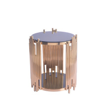Round electroplate gold office side table