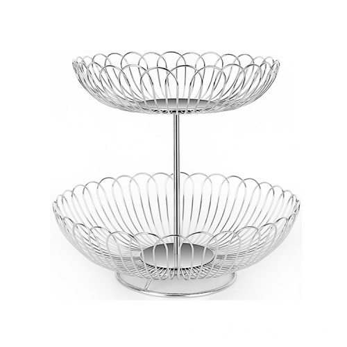 Manufacture 2 tier fruit basket metal gold wire fruit bowl basket creative