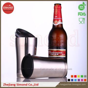 Taza de cerveza de vacío de acero inoxidable de 12 onzas con tapa de plástico