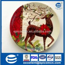 Рождественская серия белые белые фарфоровые круглые обеденные тарелки