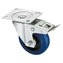 Middle Duty Series Caster - Swivel W / Brake - Blue Elastic Rubber (rolamento de rolos)