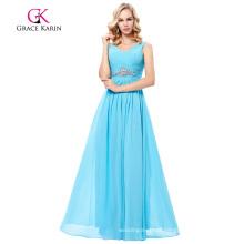 Grace Karin Sleeveless V-Neck Chiffon Sky Blue Long Prom Dress GK000128-2