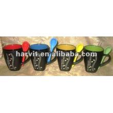 Stoneware Handmade Latte Drinkware Mugs & Spoon Souvenir/Red Yellow Green Blue Color Your Own Mug Sets