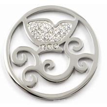 Высококачественная нержавеющая сталь монета с белым кристаллом