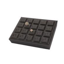 Atractiva bandeja de la exhibición del anillo de boda de la joyería del cuero negro para 20 anillos