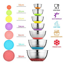 7 Colors Stainless Steel Mixing Bowl With Lid Home Kitchen Egg Mixer Salad Bowls Non-slip Silicone Bottom Food Storage Bowl Set