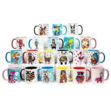 Sublimation Blank White Animals Handle Ceramic Mugs 11oz Heat Press Cup