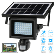 Solar powered outdoor security guardcam led pir motion light with camera