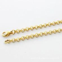 2014 colar de moda jeweiry colar redondo simples ouro alto polonês jóia colar de aço inoxidável
