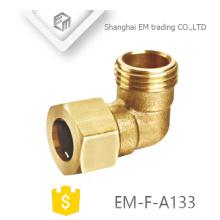EM-F-A133 rosca Macho latão conector rápido encaixe de tubulação de cotovelo de 90 graus