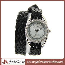 Black Leather Strap Band Fashion Quartz Watch