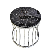 CANOSA Black Agate Inlay Coffee Table with Sliver Stainless Steel