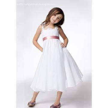 A-line Wide Straps Tea-length Taffeta Lace Ribbons Flower Girl Dress aaaa
