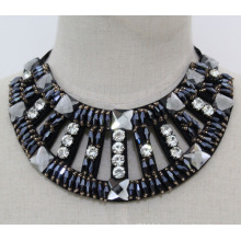 Women Fashion Navy Blue Crystal Chunky Collar Necklace (JE0152-2)