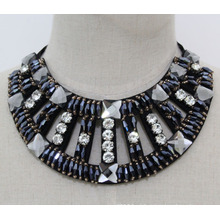 Mulheres moda azul marinho colar de cristal chunky colar (je0152-2)