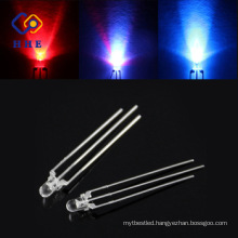2017 hot style 3mm red and blue dual color led