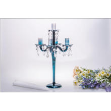 Blue Five Poster Glass Candle Holder for Wedding Decoration
