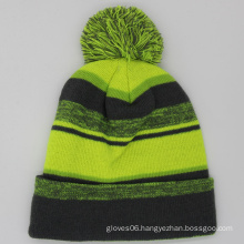 cheap Acrylic Knitted yellow striped sports winter hat Hip Hop winter beanie with pom pom