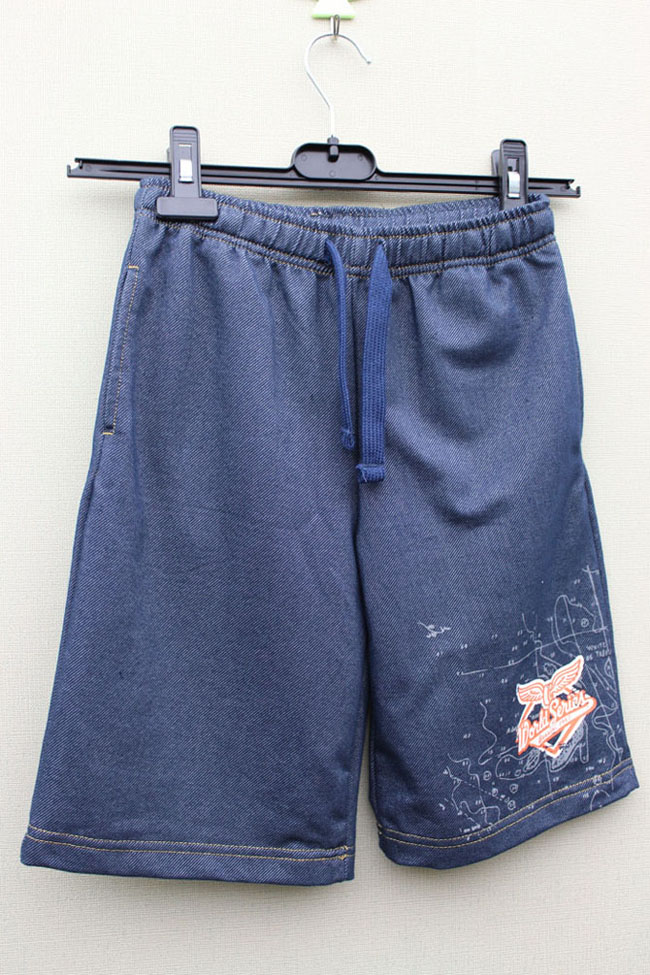 BOY'S KNITTING DENIM SHORT PANT WITH PRINT