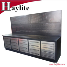 High quality 10ft stainless steel heavy duty roller tool box workbench for garage use
