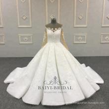 Marfim de alta qualidade Appliqued mangas compridas 2018 vestido de noiva bola vestido de noiva