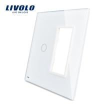 Livolo Белый 125мм * 125мм Стандарт США Двойная стеклянная панель для настенного розетки с сенсорным переключателем VL-C5-C1 / SR-11