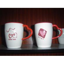 Stoneware Mug with Heart Shaped Handle