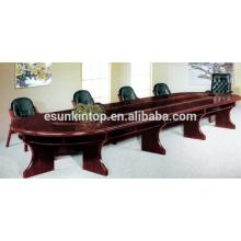 Mesa de madeira para acabamento de madeira, mesa de conferência de dupla camada (T01)