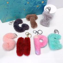 Custom Logo Keyring Bag Decor Women Kids Mini Colorful Furry Alphabet Plush Pom Pom Keychain
