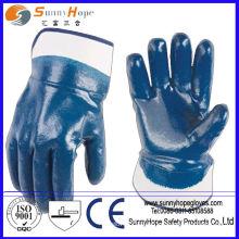 Luvas de nitrilo manguito de segurança completamente mergulhadas algodão revestido de azul