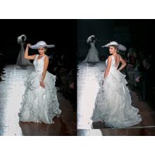 Diseño Europeo Ruffle Organza vestido de novia