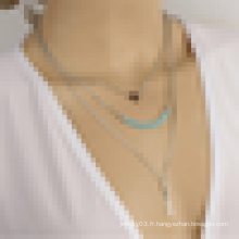 Wishbone Alloy Bar Collier à bijoux en acier inoxydable à plusieurs niveaux