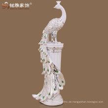 Hochwertige lange Schwanz Pfau Figur für Haus Hotel Dekor