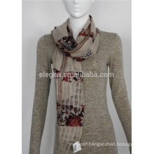 mercerized wool flower yarn- dyed scarves shawl stole