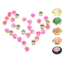 9.5mm Rhinestone Rivets with Colored Resin Stone Embellished