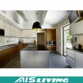 L Shaped Wood Grain Kitchen Cabinets Furniture (AIS-K298)